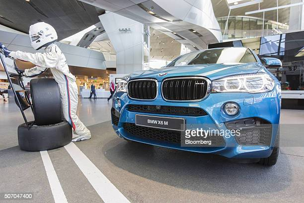 M luxury automobile produced by Bayerische Motoren Werke AG sits on display inside the BMW World showroom in Munich Germany on Tuesday Jan 26 2016...