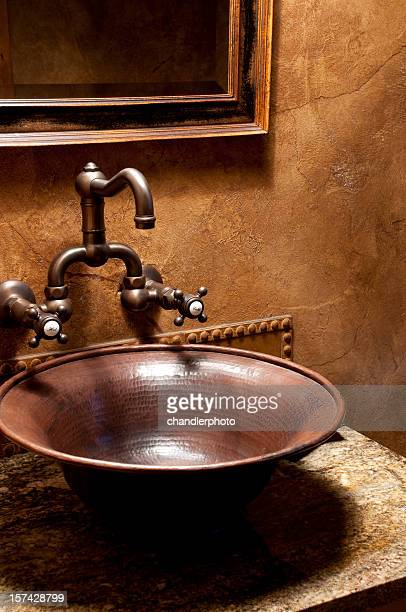 Luxury bathroom bowl shaped sink and fixtures