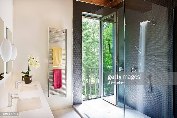 Luxury bathroom with shower.