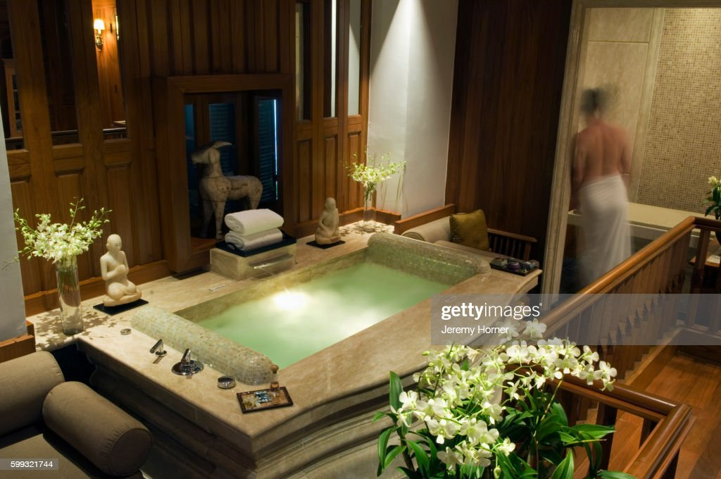 Luxury Bathtub At The Oriental Hotel Spa Stock Photo   Getty Images