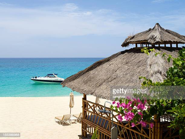 Luxury beach scene with hut and yacht