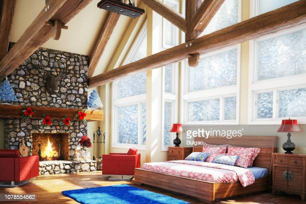 luxury bedroom (christmas theme) - chalet stock pictures, royalty-free photos & images