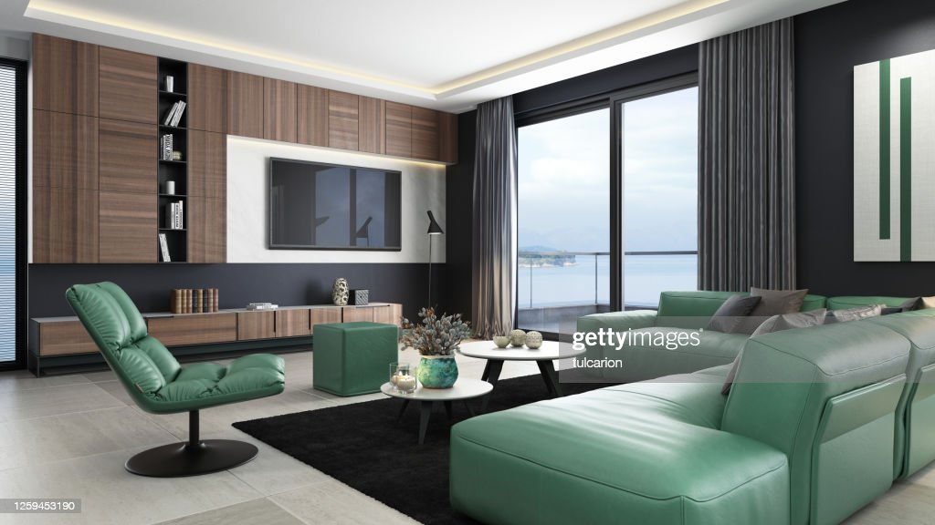 Luxury Black And Green Interior Living Room With Modern Minimalist Italian Style Open Space Kitchen High Res Stock Photo Getty Images