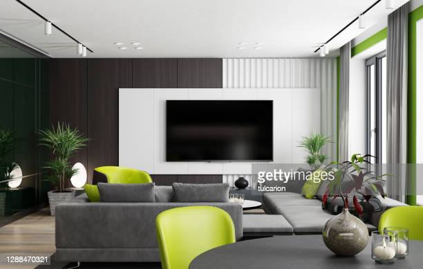 luxury black and green interior living room with modern minimalist furniture. - hd stock pictures, royalty-free photos & images