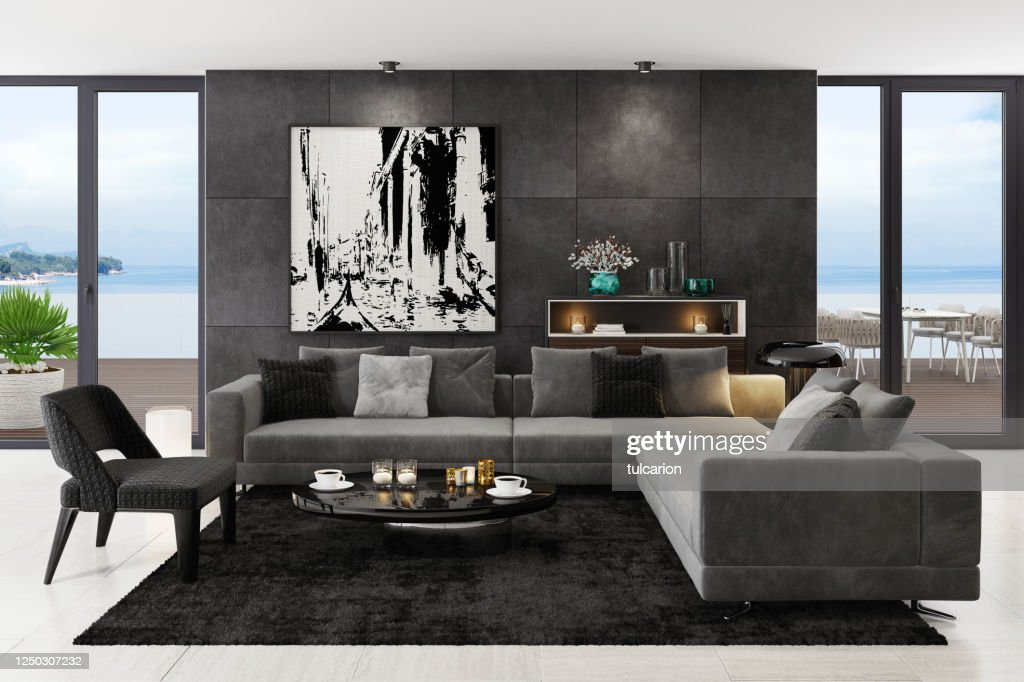 Luxury Black Interior Living Room With Modern Minimalist Italian Style Furniture High Res Stock Photo Getty Images