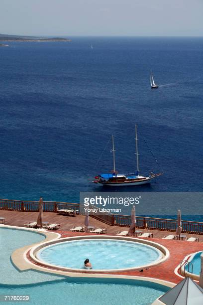 Luxury boats sail around Bodrum on June 11 2006 in Turkey In the southern Aegean Sea the Carina Coast is Turkey's and one of Europe's most popular...