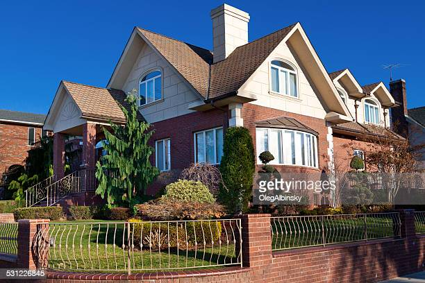luxury brooklyn house, new york. blue sky. - dyker heights stock pictures, royalty-free photos & images