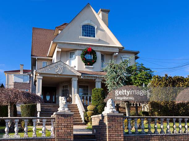 Luxury Brooklyn House with Christmas Decorations, New York. Blue sky.