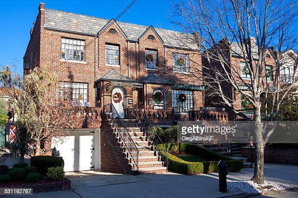 luxury brooklyn house with christmas decorations, new york. blue sky - dyker heights stock pictures, royalty-free photos & images