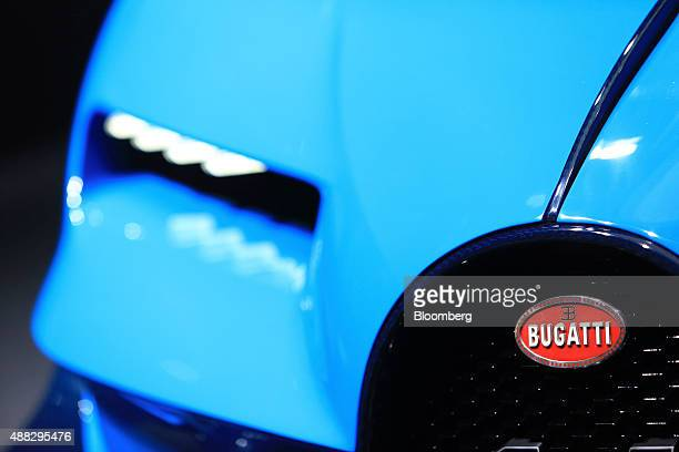 A luxury Bugatti Vision Gran Turismo sports automobile produced by Volkswagen AG sits on display during previews to IAA Frankfurt Motor Show in...