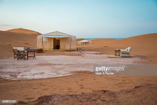 Luxury camp in Sahara desert dunes