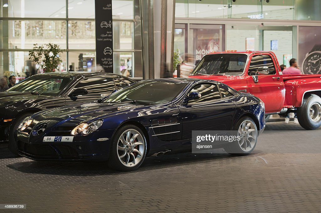 Luxury Cars In Front Of Dubai Mall At Night Stock Photo Getty Images