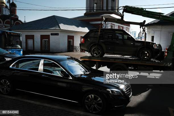 Luxury cars move along the streets of Moscow on March 10 2017 in Moscow Russia Relations between the United States and Russia are at their lowest...