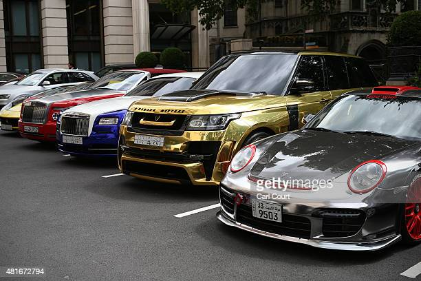 Luxury cars temporarily imported from the Gulf states are pictured in a hotel car park on July 23 2015 in London England London has become known in...
