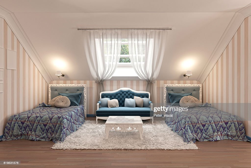 Picture of: Luxury Childrens Bedroom For Two Kids With Twin Beds High Res Stock Photo Getty Images