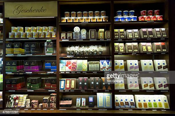 Luxury chocolate and sweets on display in Geschenke gifts department at Dallmayr food store in Munich in Bavaria, Germany