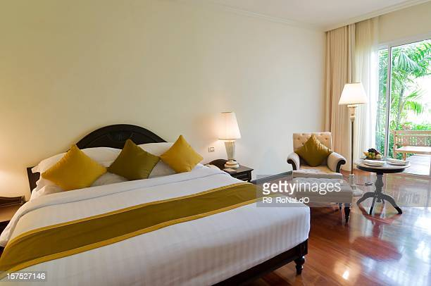 luxury classic hotel bedroom suite interior - inn stock pictures, royalty-free photos & images