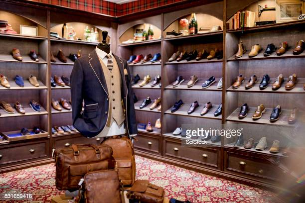 luxury clothing shop for men - men fashion stock photos and pictures