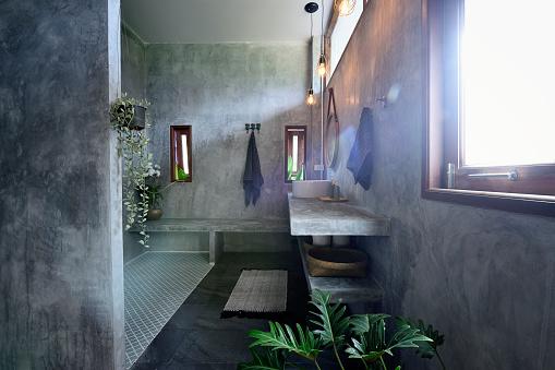 Luxury concrete and tile bathroom - gettyimageskorea