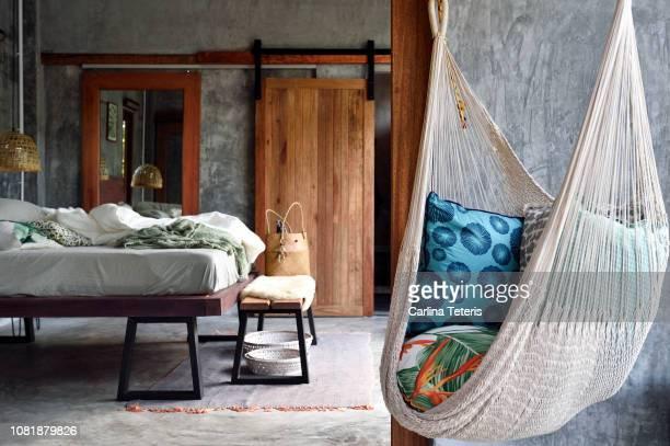 luxury concrete bedroom - luxury hotel stock pictures, royalty-free photos & images