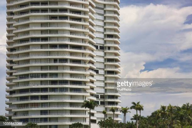 Luxury condominium building along the magnificent white sand San Marco Beach in Marco Island, Florida, USA, on August 30, 2018.