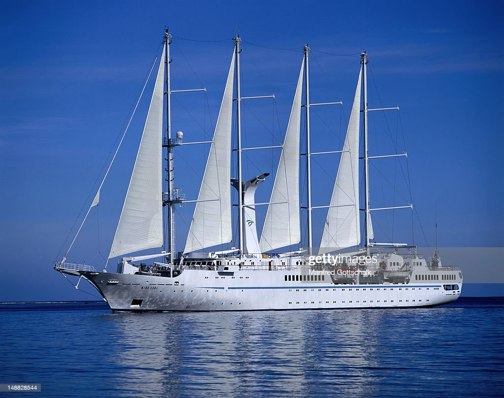 Luxury Cruise Ship Wind Song Sailing Into Cooks Bay Stock Photo - Windsong cruise ship