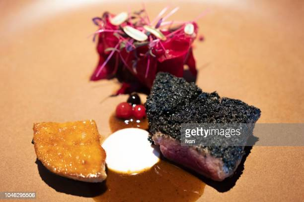 Luxury Cuisine, Main Course, roast ostrich meat,fried foie gras beetroot