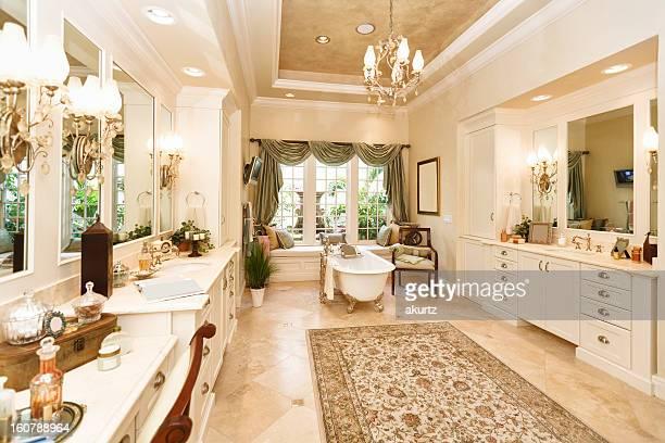 Luxury custom bathroom with claw foot tub