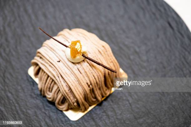 luxury delicated dessert, chestnut mont blanc cake - スイーツ ストックフォトと画像