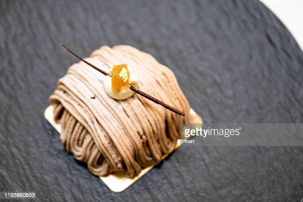 luxury delicated dessert, chestnut mont blanc cake - フランス文化 ストックフォトと画像
