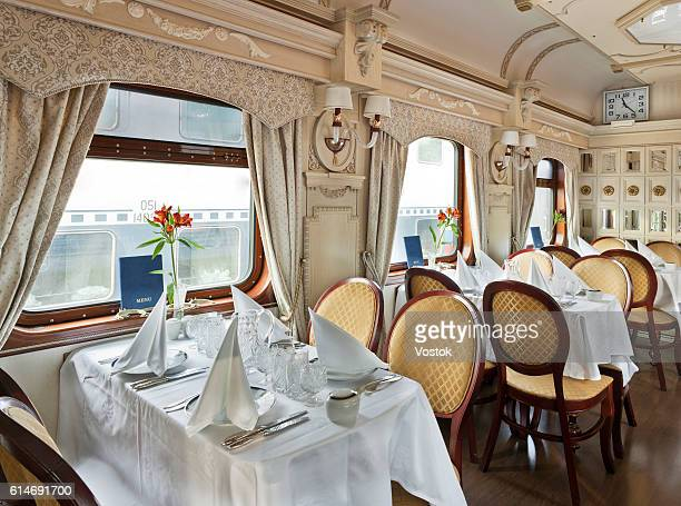 A luxury dining car on the trans siberian express