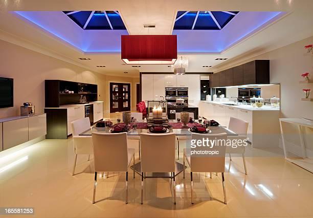 luxury domestic kitchen at night