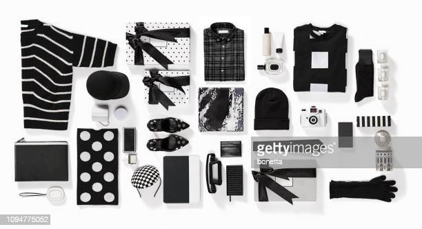 luxury fashionable clothing and stationery items flat lay on white background - calzature nere foto e immagini stock
