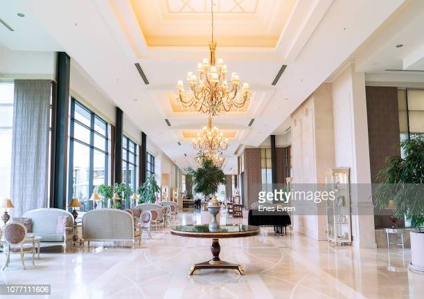 luxury five stars hotel's lobby - luxury hotel stock pictures, royalty-free photos & images