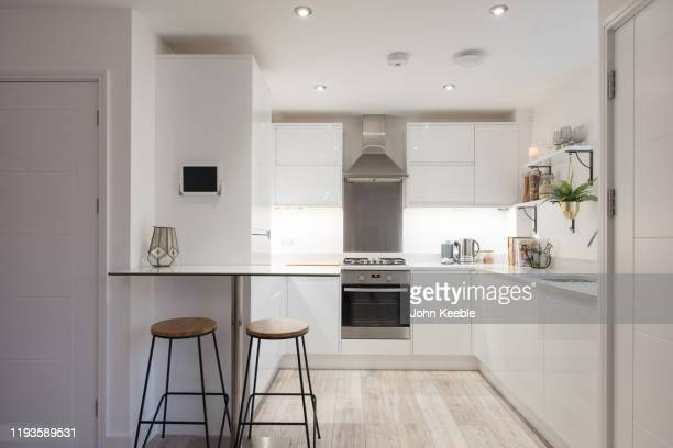 luxury flat interiors - domestic kitchen stock pictures, royalty-free photos & images