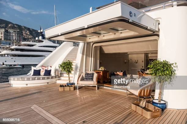 Luxury furnishings sit on the deck of superyacht Areti manufactured by Lurssen Werft GmbH Co KG during the Monaco Yacht Show in Port Hercules Monaco...