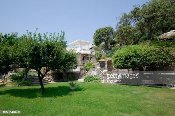 luxury garden and villa in mediterranean country - grounds stock pictures, royalty-free photos & images