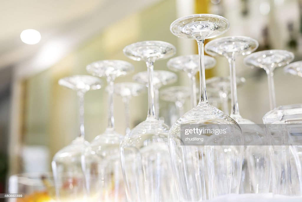 Luxury glasses for alcohol on a bar counter : Stock Photo