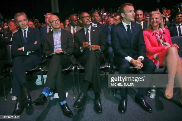 LVMH luxury group CEO Bernard Arnault Microsoft CEO Satya Nadella Rwanda's President Paul Kagame France's President Emmanuel Macron and IBM's...