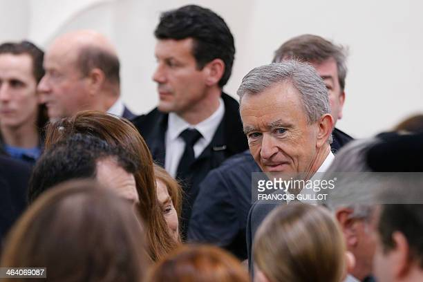 Luxury group LVMH CEO Bernard Arnault attends Christian Dior Haute Couture SpringSummer 2014 collection show on January 20 2014 in Paris AFP PHOTO /...