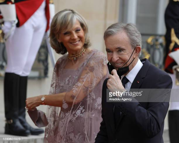 Luxury group owner Bernard Arnault and his wife Helene Arnault arrive for a state dinner with the French President Emmanuel Macron and the Italian...