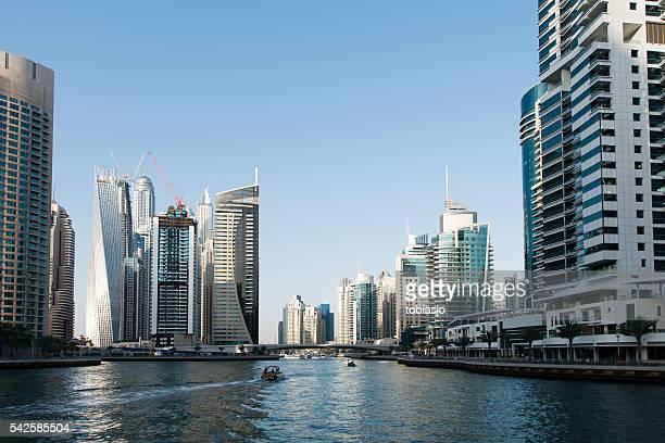Luxury highrise apartments soaring into sky above Dubai Marina