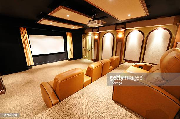 luxury home theater - entertainment center stock pictures, royalty-free photos & images