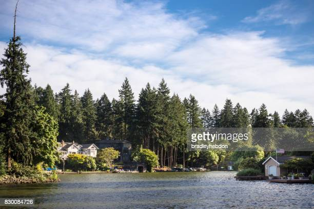 luxury homes along the shores of lake oswego, oregon - lakeshore stock pictures, royalty-free photos & images