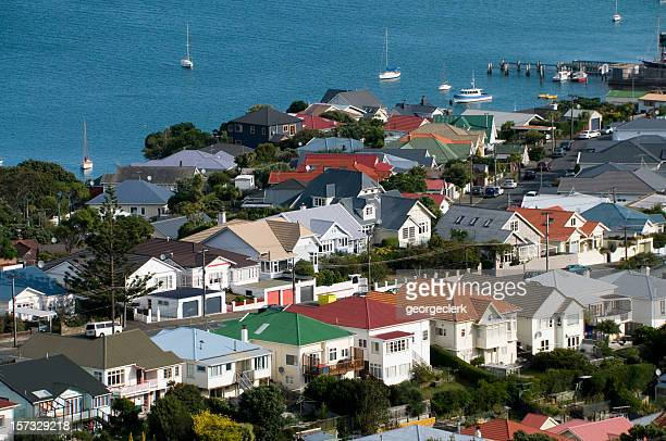 luxury homes by the water - wellington new zealand stock photos and pictures