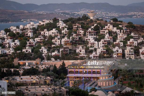 Luxury hotels and villas are seen in a bay off the Bodrum Peninsula on September 15 2017 in Bodrum Turkey Bodrum and the Bodrum Peninsula famous for...