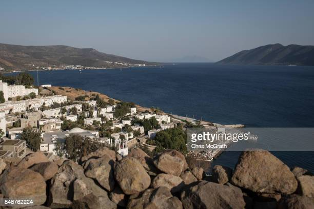 Luxury hotels are seen on the waters edge of the Bodrum Harbour on September 15 2017 in Bodrum Turkey Bodrum and the Bodrum Peninsula famous for...