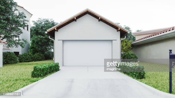 luxury house garage with concrete driveway - garage stock pictures, royalty-free photos & images