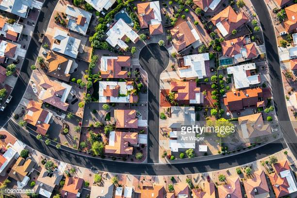 luxury housing development aerial - cul de sac stock pictures, royalty-free photos & images