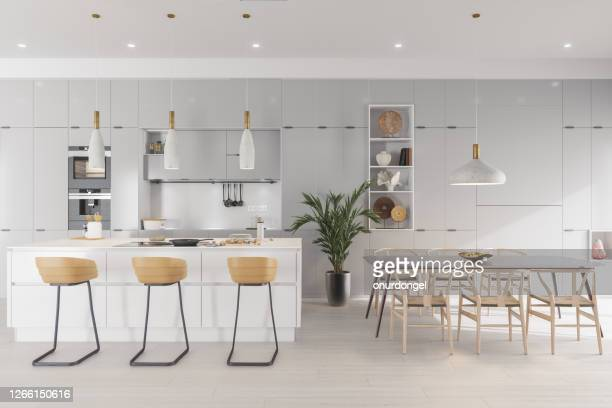 luxury kitchen and dining room - large stock pictures, royalty-free photos & images